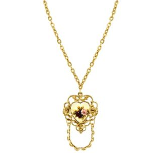 1928 Flower Heart Pendant Necklace