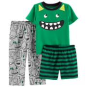Baby Boy Carter's Monster Tee, Pants & Striped Shorts Pajama Set