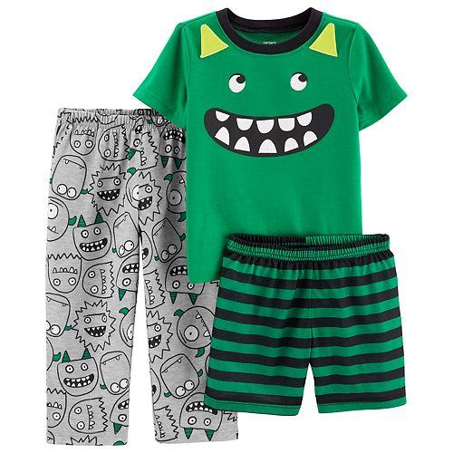 Baby Boy Carter's Monster Tee, Pants & Striped Shorts Pajama Set