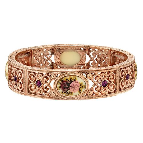 1928 Filigree Flower Stretch Bracelet
