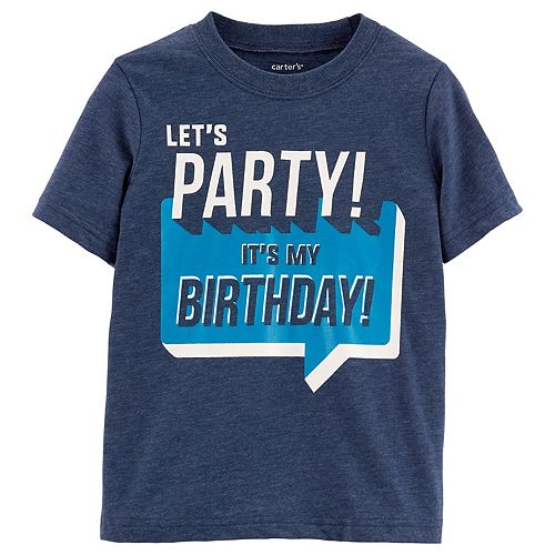 Toddler Boy Carters Lets Party Its My Birthday Graphic Tee