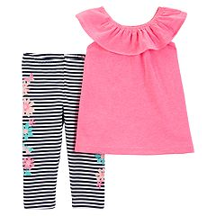 Toddler Girl Carter's Ruffled Top & Striped Floral Leggings
