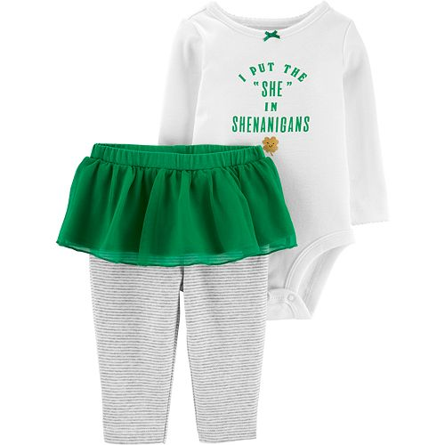 "Carter's ""I Put The She In Shenanigans"" Graphic Bodysuit & Tutu Leggings Set"