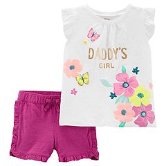 Toddler Girl Carter's 'Daddy's Girl' Floral Tee & Ruffled Shorts Set