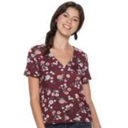 Juniors' Love, Fire Printed Surplice Top