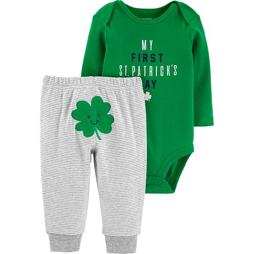 "Carter's ""My First St. Patrick's Day"" Bodysuit & Striped Pants Set"