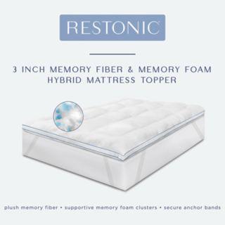Restonic 3-inch Memory Fiber & Memory Foam Hybrid Mattress Topper