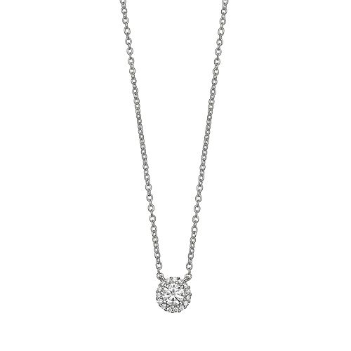 PRIMROSE Sterling Silver Cubic Zirconia Halo Necklace