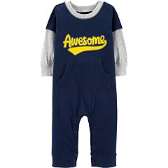 Baby Boy Carter's 'Awesome' Mock Layer Jumpsuit Romper