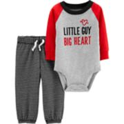 "Baby Girl Carter's ""Little Guy Big Heart"" Graphic Bodysuit & Striped Pants Set"