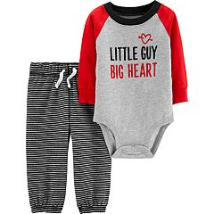 Baby Girl Carter's 'Little Guy Big Heart' Graphic Bodysuit & Striped Pants Set
