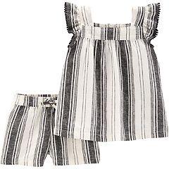 Toddler Girl Carter's Striped Linen-Blend Tank Top & Shorts Set
