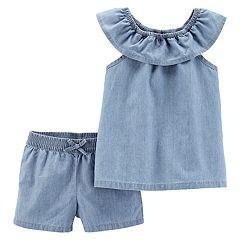 Toddler Girl Carter's Chambray Top & Shorts Set