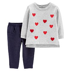 Baby Girl Carter's Striped Heart Top & Jeggings Set