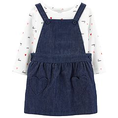 Baby Girl Carter's Heart Print Bodysuit & Denim Jumper Set
