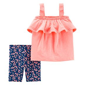Toddler Girl Carter's Ruffled Tank Top & Floral Short Set