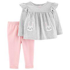 Baby Girl Carter's Striped Bunny Top & Leggings Set