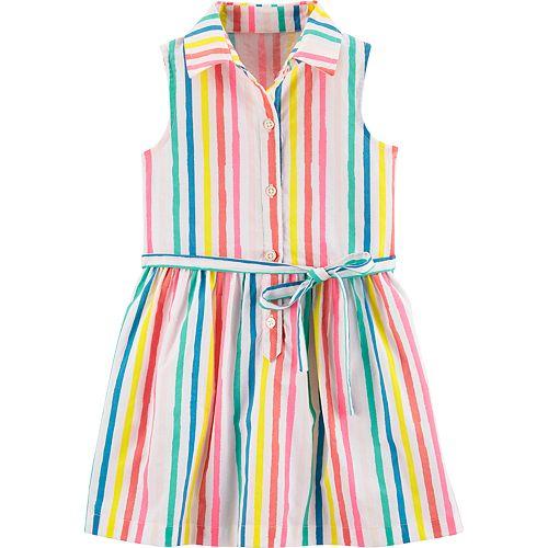 b4ce67243 Toddler Girl Carter's Rainbow Striped Shirt Dress