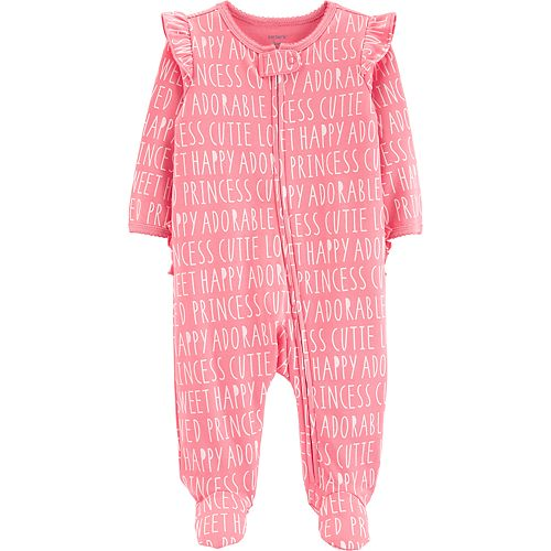 "Baby Girl Carter's ""Happy Cute Adorable Princess"" Ruffled Sleep & Play"