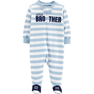 """Baby Boy Carter's """"Little Brother"""" Striped Sleep & Play"""