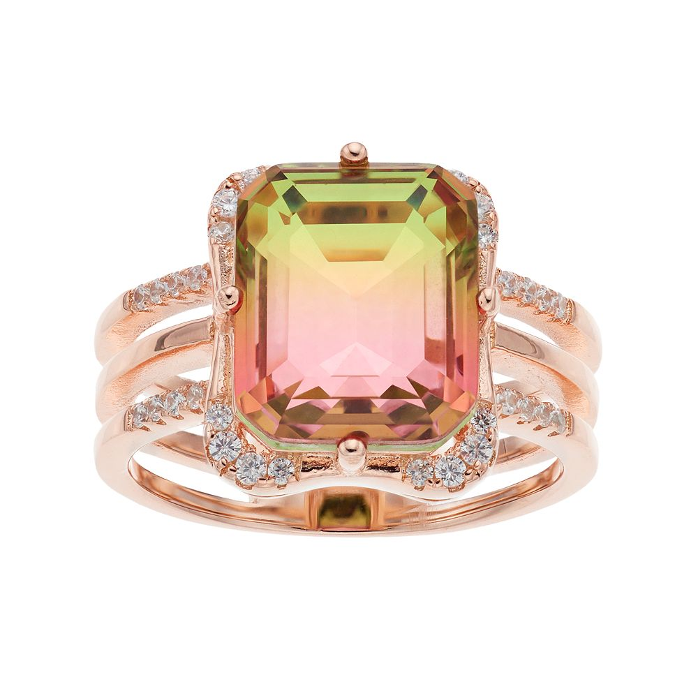 18k Rose Gold Over Silver Watermelon Cubic Zirconia Triple Shank Ring