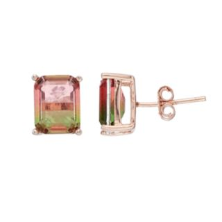 Rose Gold Tone Watermelon Cubic Zirconia Rectangle Stud Earrings