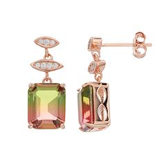 18k Gold Over Silver Watermelon Cubic Zirconia Drop Earrings