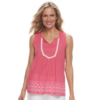 Women's Caribbean Joe Embroidered Lace Tank
