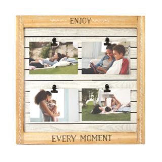 "New View ""Enjoy Every Moment"" 4-Opening Clip Collage Frame"