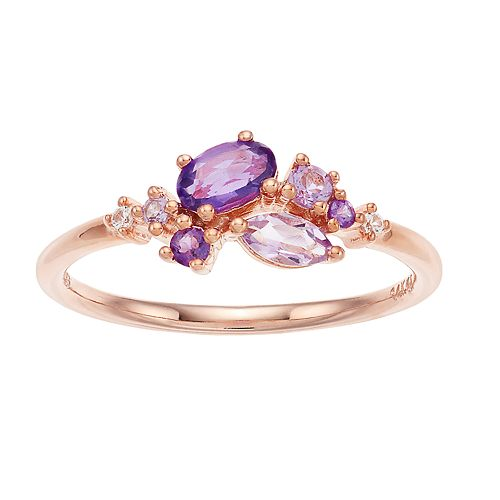 14k Rose Gold Over Silver Amethyst & Lab-Created White Sapphire Cluster Ring