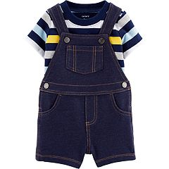 824c46b2f1e7 Baby Boy Carter s Striped Tee   Denim Shortalls Set