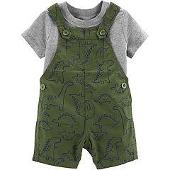 Baby Boy Carter's Solid Tee & Dinosaur Shortalls Set