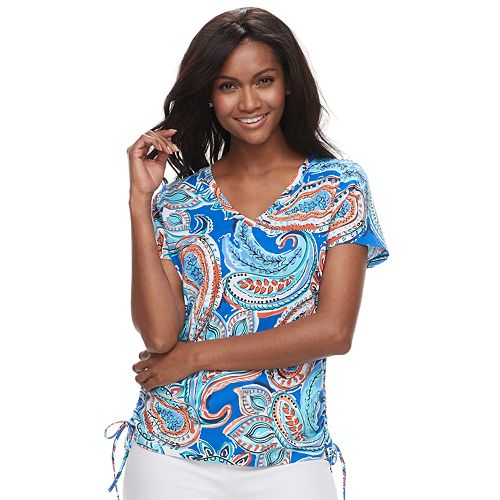 Women's Caribbean Joe Print Ruched Tee