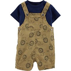 Baby Boy Carter's Tee & Lion Print Shortalls Set