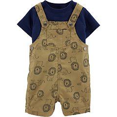 Baby Boy Carter's Tee & Lion Print Shortalls Set