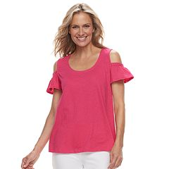 Women's Caribbean Joe Flutter Cold-Shoulder Tee