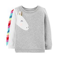 Baby Girl Carter's Unicorn Fringe-Sleeve Sweatshirt