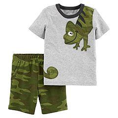 Toddler Boy Carter's Chameleon Wrap Around Tee & Camo Shorts Set