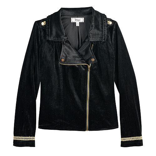 Girls 7-16 Disney D-Signed Velvet Moto Jacket