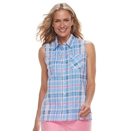 Women's Caribbean Joe Plaid Sleeveless Shirt