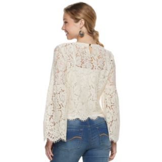 Juniors' Hint of Mint Lace Bell Sleeve Top