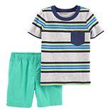 Toddler Boy Carter's Striped Polo & Poplin Shorts Set
