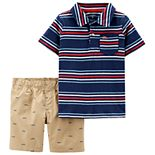 Toddler Boy Carter's Striped Polo & Shorts Set