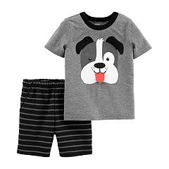 Toddler Boy Carter's Dog Tee & Striped Shorts Set