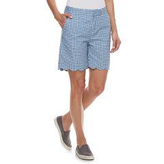 Women's Caribbean Joe Print Scallop-Hem Bermuda Shorts