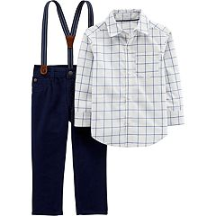 Toddler Boy Carter's Checkered Button Down Shirt, Pants & Suspenders Set