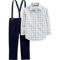 Toddler Boy Carter's Checkered Button Down Shirt, Pants & Suspenders Set