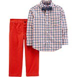 Toddler Boy Carter's Plaid Shirt, Bow Tie & Pants Set