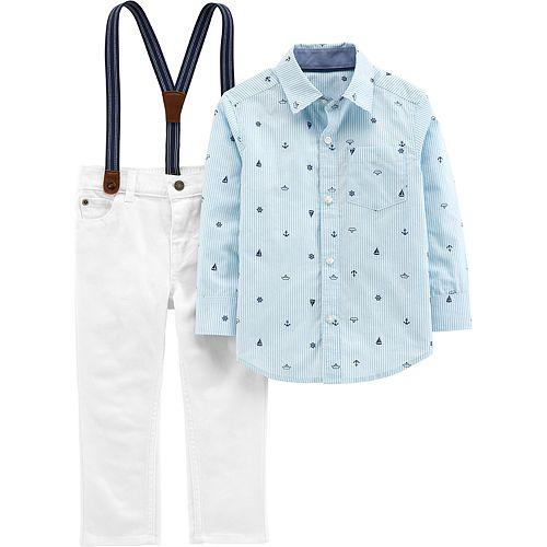 ac3e6e1b7 Toddler Boy Carter's Button Down Shirt, Pants & Suspenders Set