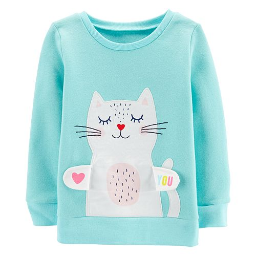 Baby Girl Carter's Embroidered Kitty Applique Sweatshirt